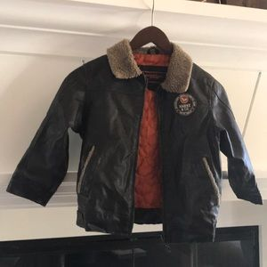 Hawke & Co Jackets & Coats - Hawke&Co. Faux Brown Leather Bomber Jacket, Boys 4